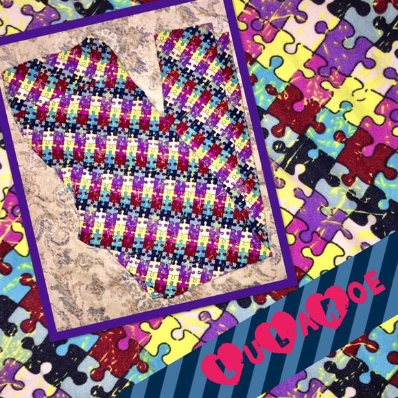 2851e6efa64828 LuLaRoe Pants | Tc Leggings In Autism Awareness Puzzle | Poshmark